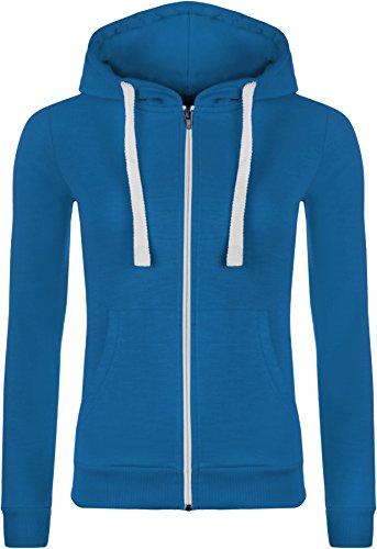 36 Taille Sleeve 42 Blue Womens Hooded Long Royal Zipper Wearall 7 Top Élastique À Capuche Couleurs nwO0Pk8
