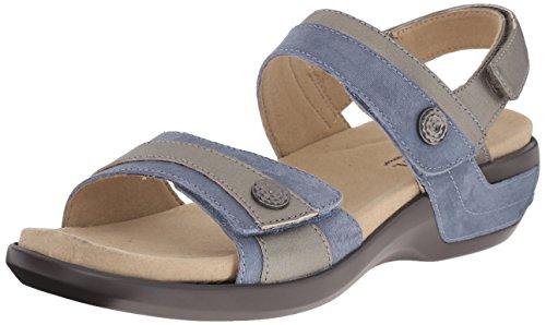 Aravon Women's Katherine-AR Flat Sandal,Blue/Multi,5 2E US