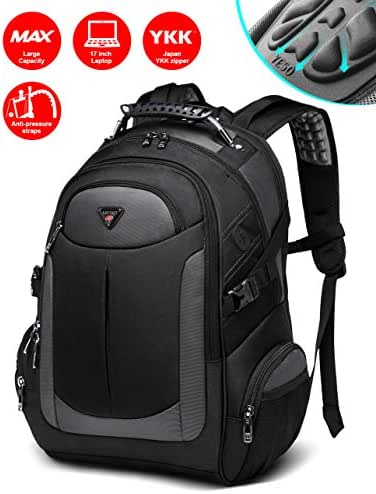 Backpack for Men, Business Slim Durable Laptop Backpacks with YKK Zipper, Water Resistant College School Computer Bag for Men & Women Fits 17 inch Laptop Notebook - Black
