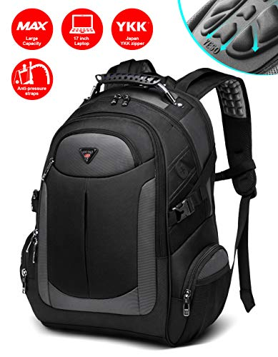 Backpack for Men, Business Slim Durable Laptop Backpacks with YKK Zipper, Water Resistant College School Computer Bag for Men & Women Fits 17 inch Laptop Notebook - ()