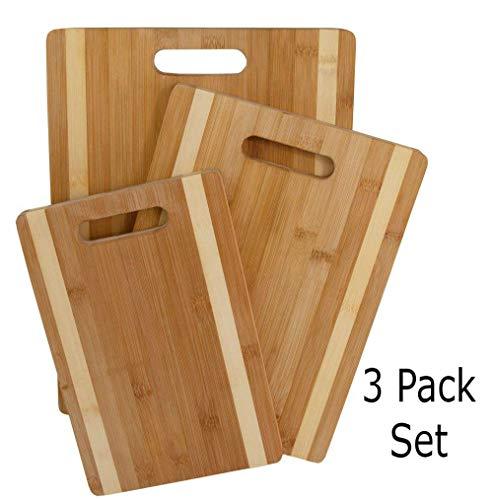 (3 Pack Farmhouse Kitchen Cutting Board - Bamboo Cutting Boards 16, 14, 11.5 Inch Wood Cutting Board & Serving Board)