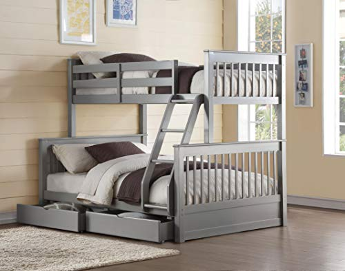 (Acme Furniture 37755 Haley II Storage Bunk Bed, Twin Over Full, Gray)