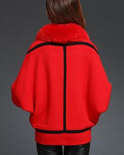 Mujer Cárdigan Jerséis Chaqueta de Punto Manga del Palo Suéter Tops Rojo