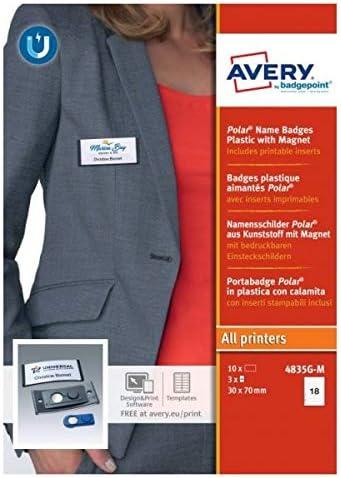 Avery España 4835G-M. Portanombres con imán color antracita y tarjetas 30 x 65 mm, 10 unidades: Amazon.es: Oficina y papelería