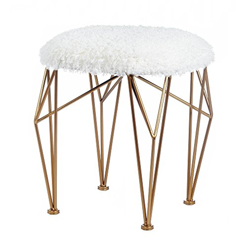 GEO WHITE FAUX FUR STOOL (Eskimo Faux Fur)