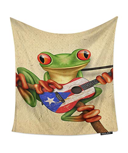 Moslion Room Art Wall Tapestry Tree Frog Playing Puerto Rico Flag Guitar Cool Dorm/Bedroom Decor Tapestry Wall Hanging for Men/Boy/Girl 60W X 80H - Puerto Frog Rico