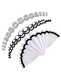 BodyJ4You 50PCS Gauges Kit Taper Single Double Flare Acrylic Silicone Tunnel Plugs 14G-12MM Jewelry