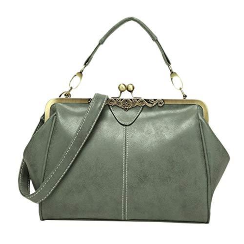 (Uqiangy women's fashion handbag shoulder bag scrub bag British retro Messenger bag(Green))