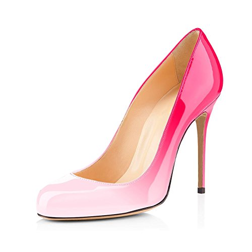 Joogo Round Toe Party Stilettos Slip On High Heels 4.7 inches Thin Heel Classics Pumps Gradient Pink Size - Gradient Pink