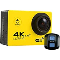 Becoler Outdoor Exploration Waterproof Camera 4K HD WIFI Motion Camera with 170 degree wide-angle lens and Remote control,Yellow