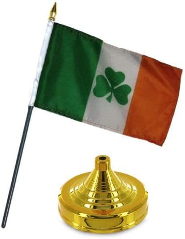 """Ireland Irish Shamrock Flag 4/""""x6/"""" Desk Set Table Stick Gold Base"""