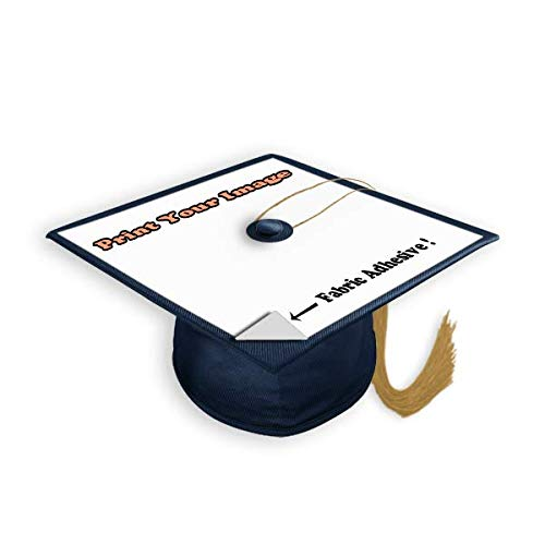 Blank White Adhesive Grad Hat Topper Sticker - Easy to use Graduation Cap Decorations - Printable with Inkjet or Laser Printers - Personal Size (5 Pack)]()