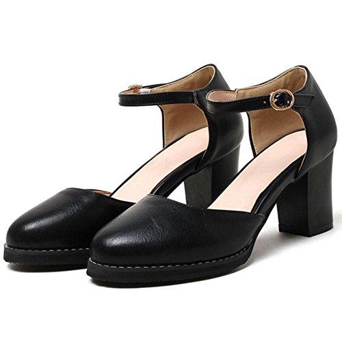 ... COOLCEPT Damen Mode-Event Knochelriemchen Schuhe mit Absatz  Geschlossene Blockabsatz Schuhe Schwarz ...