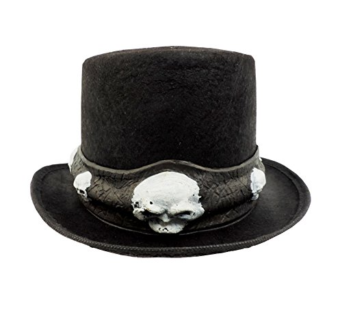 (Black Victorian Novelty Costume Top Hat With Skull Band)
