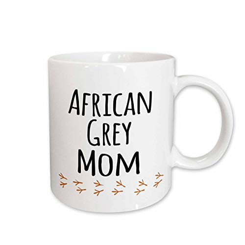 3dRose mug_154032_2 African Grey Parrot Mom Bird Lover Exotic Pet Owner for Her Text with Bird Footprints Ceramic Mug, 15-Ounce