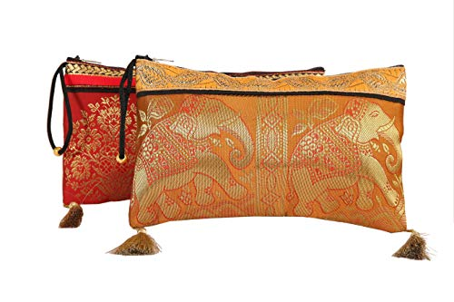 Brocade Wristlet - Handmade Antique Silk Clutch Wristlet Indian Made Purse Organza Bag with Ethnic design Wedding Gift Pouch (Set of two)
