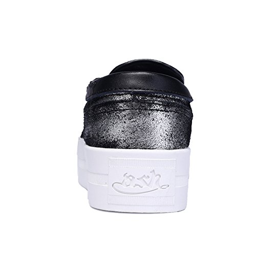 Enllerviid Donna Alta Piattaforma Slip On Sneakers Moda Low Top Punta Rotonda Mocassini Casual 163 Argento / Nero