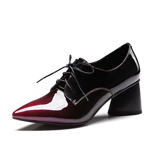 Nine Seven Patent Leather Womens Pointed Toe Chunky Heel Lace Up Handmade Cute Dress Pumps Shoes Burgundy