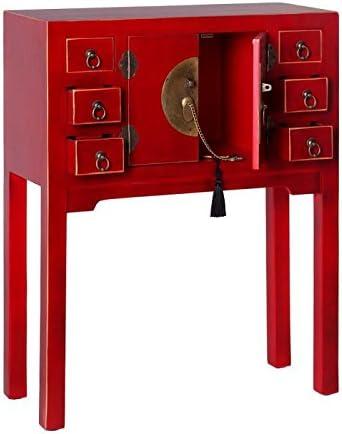 L 63 x l 26 x H 80 Neuf 6 tiroirs Rouge Meuble Chinois Pekin Tousmesmeubles Console 2 Portes