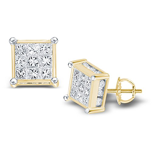 14kt Yellow Gold Womens Princess Diamond Square Cluster Stud Earrings 3/4 Cttw 14kt Gold Birthstone Cluster Earrings