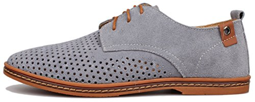 Kunsto Mens Leather Oxfords Dress Shoes Lace up Breathable Upper Grey HC6uxS