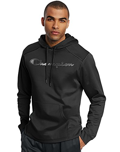 Champion Men's Tech Fleece Reflective Logo Pullover Hoodie, Black, Medium