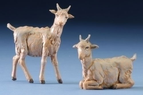 - Fontanini Standing and Sitting Goats Italian Nativity Village Figurine Set of 2