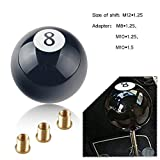 RYANSTAR Shift Knob Black 8 Ball Acrylic Gear Shift Knob with 3 Adapters Universal Fit for Manual Car M8*1.25, M10*1.25, M10*1.5, M12*1.25