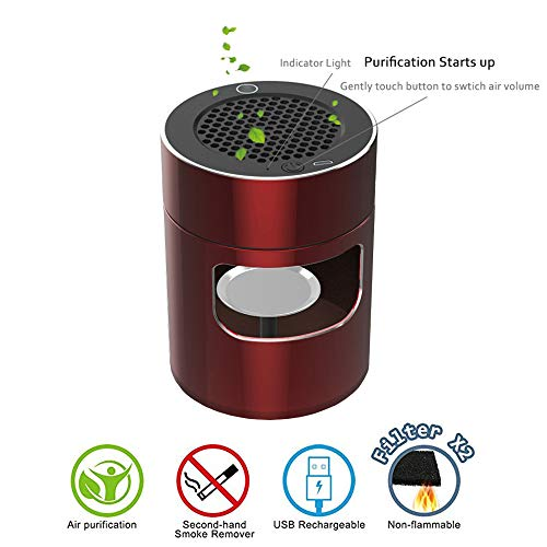 S DESITA Multifunctional Air Purifier Smokeless Ashtray Secondhand Smoke Remover Filter Formaldehyde Cigarette Deodorant USB Rechargeable for Car/Indoor/Outdoor Protect Family Health (Best Air Purifier For Second Hand Smoke)