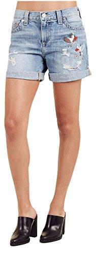 True Religion Women's Jayde Embroidered Denim Jean Shorts w/Flap In Destroyed Blue Birds (28)