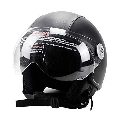Woljay Leather Motorcycle Vintage Half Helmets Motorcycle Biker Cruiser Scooter Touring Helmets (L, Black)