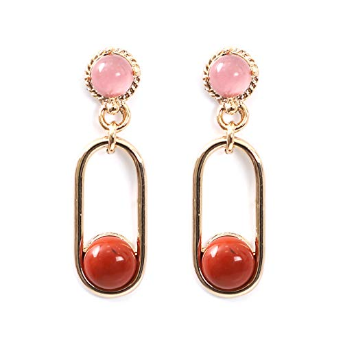 Delice N Delight Brass Natural Coral Rose Quartz Stone Ring Drop Earrings 30mm