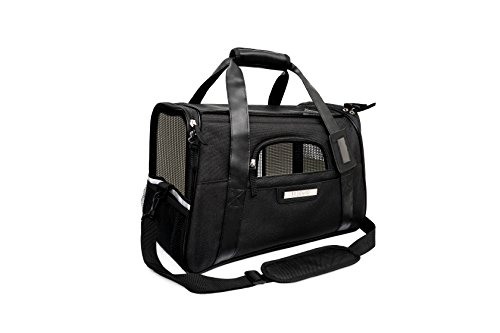 UPC 601308004075, Lubber Soft Sided Pet Carrier Airline Approved Foldable Travel Tote bag with Fleece Bedding Safety Lock for Small Dogs and Cats, Black