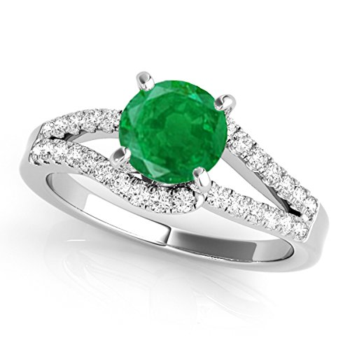 1.15 Ct. Emerald And Diamond Twin Shank Engagement Ring Crafted In 14k Solid White ()