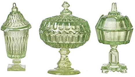 Green /& White Plastic Chrysnbon Candy Dishes Dollhouse Miniature Red Set of 3