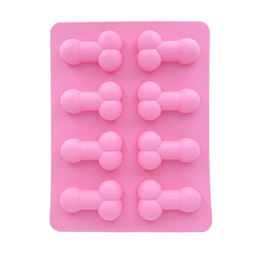 Price comparison product image 8 Cavity Penis Cake Mold Ice Cube Tray((Pack of 3,  Pink) with 20 Penis Sipping Straws Mixed Color for Bachelorette Party Suppliers and Gag Gift