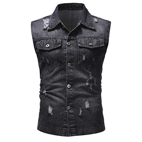 - Zoilmxmen Mens Retro Demin Gilets, Men's Autumn Winter Destroyed Vintage Denim Jacket Waistcoat Blouse Vest Top