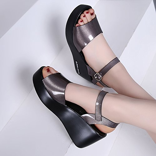 Wild Women'S Lin With Women Leather Heel High Sandals Casual Sandals Loose Grey Summer Xing Wedges Comfortable Sandals Platform avSwqv