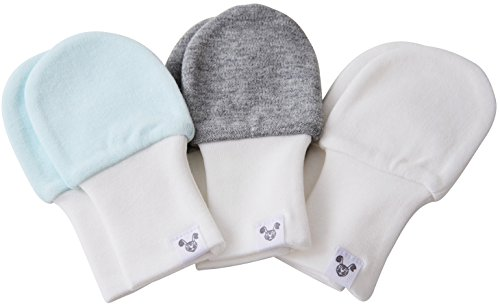 (Baby Mittens - OVERSIZED - blue, grey and white, fits larger hands age 3-6 months, 3 pairs)