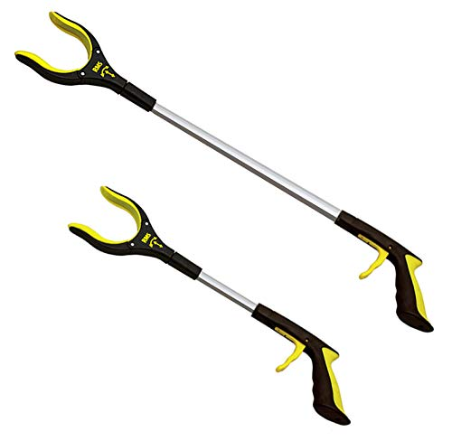 RMS 2-Pack 32 Inch and 19 Inch Grabber Reacher with Rotating Gripper - Mobility Aid Reaching Assist Tool, Trash Picker, Litter Pick Up, Garden Nabber, Arm Extension