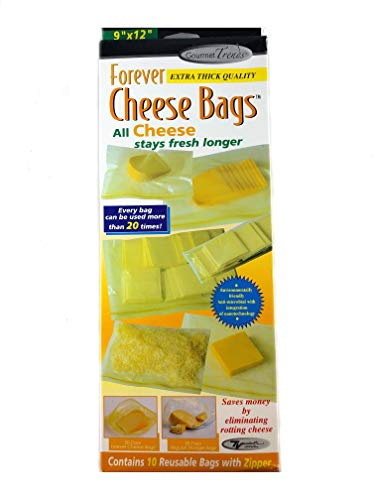Forever Thick Reusable Antimicrobial Cheese Bags with a Zipper (10-Pack), Measures 9 x 12
