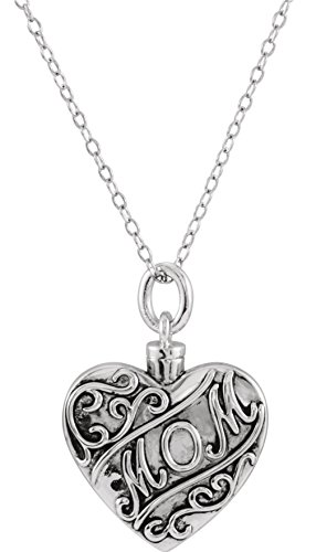 'Mom' Heart Ash Holder Necklace, Rhodium Plated Sterling Silver, 18'' by The Men's Jewelry Store (Unisex Jewelry)