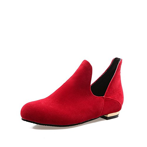 AllhqFashion Mujer Sin cordones Puntera Redonda Puntera Cerrada Mini Tacón Gamuza(Imitado) Sólido De salón Rojo