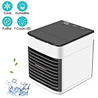 Portable Air Conditioner Fan,Conditioner with Humidifier Air Small Personal USB Humidifier Cooling with,Suitable for small rooms, home office bedrooms