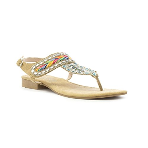 Sandal Lilley Diamante Post Womens Multicolour Toe Flat Tan fYcaTqC