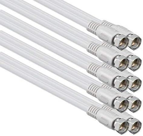 1aTTack - Cable coaxial para Antena (Conector coaxial F a Conector coaxial F, Doble apantallamiento, 75db 85db 100db 110 db 120 db 125 db) Sat weiß FF ...