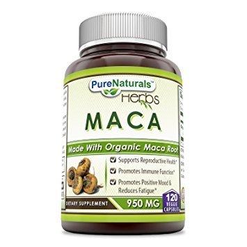 Pure Naturals Maca 950 Mg - Organique Racine de Maca (120 capsules)