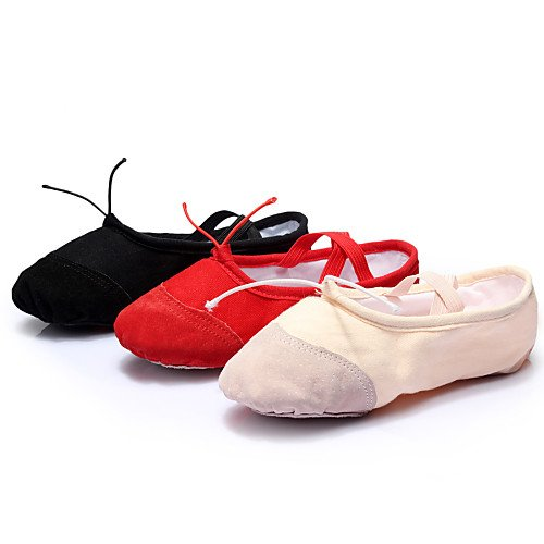 Leather Flat T Women's T Black Black Heel Ballet Shoes Q Dance Canvas nqBHwWORSY
