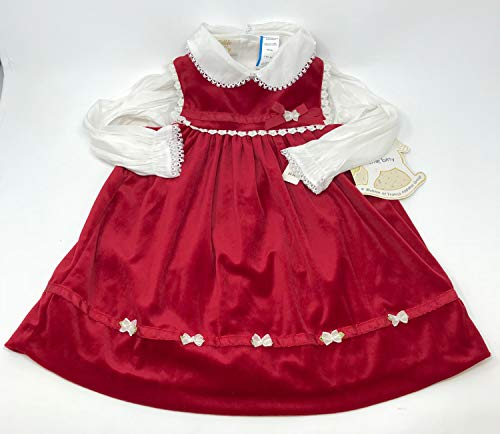 Little Bitty Toddler Red Velour Empire Jumper with White Blouse