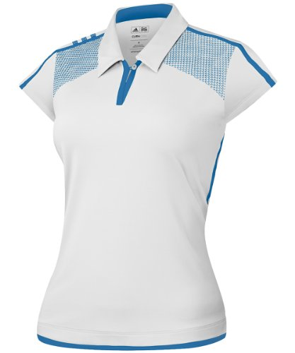 adidas Golf Women's Climacool 3-Stripes Polo, White/Oasis, X-Large